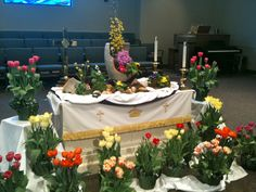 Altar decorations that change a little each week during the Easter season