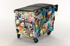 Sticker Decorated Trash Cans Cool Home Ideas