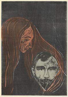 Edvard Munch, Man's Head in Woman's Hair, 1896