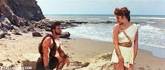Hercules (Steve Reeves) meets Iole (Sylva Koscina) in HERCULES Summer is here and it's time to hit the beach! Steve Reeves, Summer Is Here, Hercules, Cover Up, God, Beach, Peplum, Movies, Image