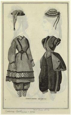 Bathing suits and caps, 1870 US, Peterson's Magazine