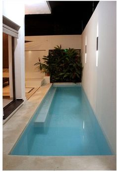 Small Small backyard patio ideas with pool and cement ideas. Small Swimming Pools, Small Pools, Swimming Pools Backyard, Swimming Pool Designs, Lap Pools, Indoor Pools, Pool Decks, Pool Landscaping, Backyard Pool Designs