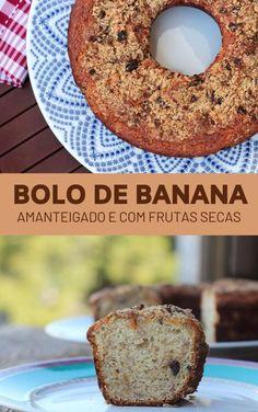 Bolo amanteigado de banana e frutas secas | Mel e Pimenta Banana Madura, Low Carb, Bread, Food, Brownies, Small Cake, Brown Sugar, Cake Ideas, Cake Toppers