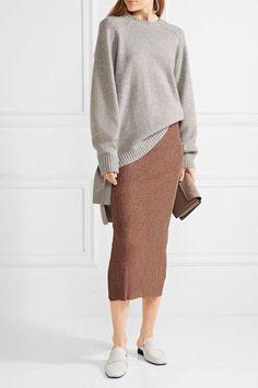 Bronze ribbed-knit Slips on 82% viscose, 18% polyester Designer color: Rose Gold Dry clean Imported
