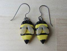 Tiny Bee Clay earrings Hook dangle drop earrings by ColorfulClay