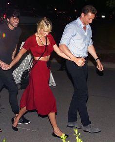 Taylor and Tom leaving Selena Gomez's Revival Tour in Nashville last night