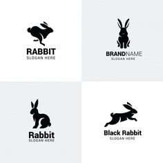 Set of rabbit logos Premium Vector Logo Rabbit, Rabbit Vector, Badge Design, Logo Design Template, Rabbit Icon, Whiskey Logo, Rabbit Silhouette, Logo Minimalista, Bunny Tattoos