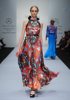 Bright prints with leather harnesses and details at Pineda Covalin for Mercedes-Benz Mexico Fashion Week.