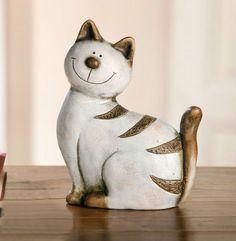 Große Deko Katze Brauntiger 24cm, aufwändig bemalt, Katze, Deko | eBay