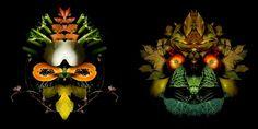 """""""Totems"""" es una serie de fotografías de Carolina Amoretti y Matteo Abbo en las que usando frutas, verduras y hojas forman rostros en una clara referencia"""