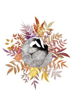 Sleepy Badger  A5 Print by LeahTrengove on Etsy