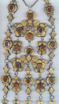 Necklace, gilt silver with carnelian, Yomud Turkmen 19th c   Archives sold Singkiang