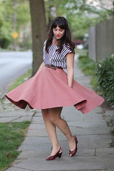 Rose skirt and striped top - perfect for a daytrip date to the country...