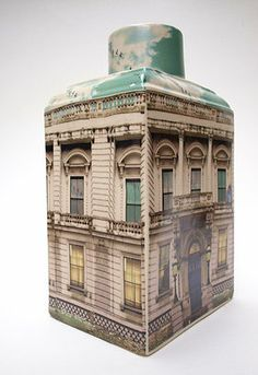 Alice Mara Ceramics [regal building] I love Alice Mara canisters I would like an entire set with various buildings love the sky tops click the image for more details. Ceramic Pitcher, Ceramic Clay, Ceramic Pottery, Modern Ceramics, Contemporary Ceramics, Kitsch, Ceramic Houses, Ceramic Design, Little Houses
