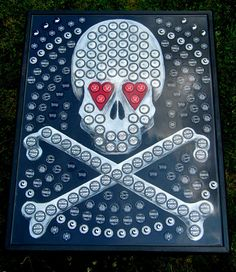 Bottle Cap End Table  Skull and Crossbones by CustomCapTables1, $300.00