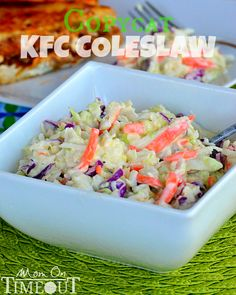 KFC Coleslaw Copycat Recipe  ---  For a finer texture, pulse the veggies briefly in the food processor before adding the dressing.