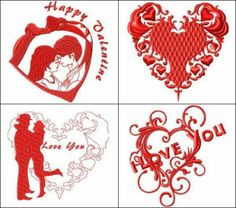 """""""Redwork Hearts Set"""" +Free Sample! Includes 16 designs. There are several very romantic ones! Happy Valentine, Be My Valentine, I love you & more for year round romance!"""