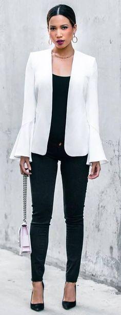 white and black | blazer + bag + top + skinnies + heels