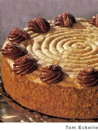 For this dacquoise cake, crunchy-chewy discs of hazelnut-almond meringue are sandwiched between layers of coffee butter cream frosting. An elegant cake.