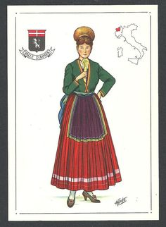 Valle d'Aosta - costume regionale - cartolina