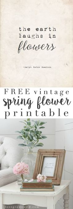 Vintage Spring Flower Printable - This FREE vintage printable is an easy way to add a touch of spring to your home decor! Spring Home Decor, Easy Home Decor, Home Decor Styles, Craft Font, Shabby, Home Decor Quotes, Trendy Home, Diy Home Crafts, Creative Home