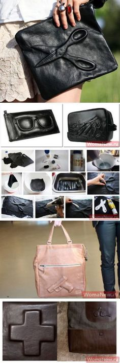 Soak leather in hot water mixed with 5tblsp of soda for half an hour. Put the desired imprint under the skin n blow dry using dryer.
