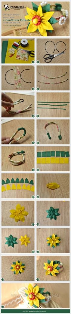 DIY Flower Jewelry - How to Make a Sunflower Bracelet with Beads and Felt by Jersica