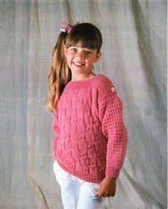 vintage childrens sweater knitting pattern PDF DK girls bobble stitch slash neck jumper 22-32 inch DK light worsted 8ply Instant Download by Minihobo on Etsy