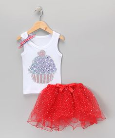 Take a look at this White Flag Cupcake Tank & Red Tutu - Infant, Toddler & Girls by So Girly & Twirly on #zulily today!