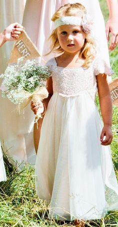 Empire Waist Vintage Flower Girl Dress with Cap Sleeves