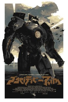 """Pacific Rim"" by Gabz. 24″ x 36″ 6-color (w/ 3 metallic inks) Screenprint. Ed of 80 N. $75 (variant)"