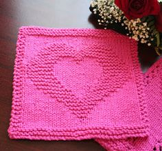 Two Hearts as One Dishcloth © Cathy Waldie, January 22, 2008 (US) 7 (4.5mm) needles ~ 2 oz. 100% worsted weight cotton (sample in Hot Pink, ...