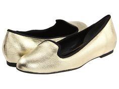 Cole Haan Air Morgan Slipper Ballet White Gold Metallic Canvas - 6pm.com