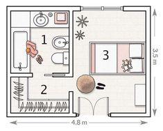 Plano: con vestidor y baño- Micasarevista Bedroom Closet Design, Bedroom Wardrobe, Master Bedroom Design, Bedroom Decor, Bedroom Ideas, Master Bedroom Addition, Master Bedroom Plans, Master Room, Master Closet