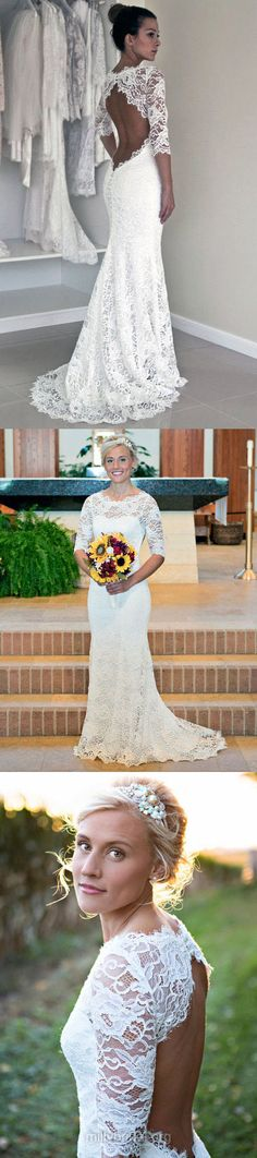 Mermaid Wedding Dresses White, Lace Wedding Dress Modest, Scoop With Open Back Bridal Gowns 3/4 Sleeve Simple