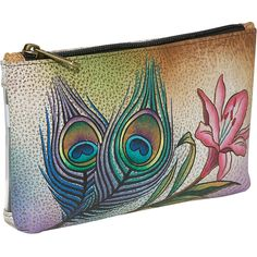 Anuschka Cosmetic Bag Pouch - Premium Peacock Flower ($32) ❤ liked on Polyvore featuring beauty products, beauty accessories, bags & cases, ladies purse accessories, ladies wallets, tan, clear travel bag, dopp bag, toiletry bag and cosmetic makeup bag