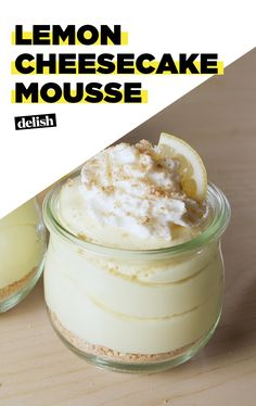 Lemon Cheesecake Mousse is the lightest, fluffiest spring dessert EVER. Get the recipe at Delish.com. #lemon #cheesecake #mousse #delish #recipe #easyrecipe #dessert #light #fluffy