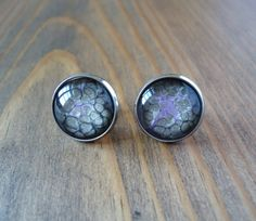 Black purple stud earrings, hand painted studs, minimalistic earrings, glass dome earrings, paint studs, cabochon art abstract pebeo jewerly