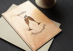 Anniversary Wood Greeting Card - Wedding Anniversary Card