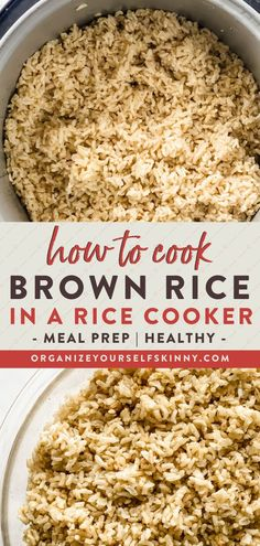 How To Cook Brown Rice In A Rice Cooker | Healthy Eating Tips - Want to learn how to easily cook brown rice in a rice cooker? I'll share my foolproof tips for delicious fluffy brown rice every time. Do you want to make ahead and freeze rice ahead of time? Great! I'll share those tips too. Organize Yourself Skinny | Healthy Living Tips | How To Lose Weight | Cooking Lessons | Easy Recipes Clean Dinner Recipes, Dinner Recipes Easy Quick, Healthy Dinner Recipes, Skinny Recipes, Yummy Recipes, Recipies, Easy Cooking, Healthy Cooking, Cooking Tips