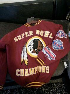Auth Washington Redskins Superbowl Throwback jacket NFL football coat Varsity