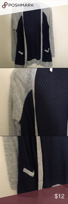 Medium grey and navy cardigan Medium grey and navy cardigan. Light weight and thin. Very cute with leggings. Great condition. Pet free smoke free home. From target Mossimo Supply Co. Sweaters Cardigans