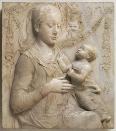 Madonna and Child, bas relief by Antonio Rossellino