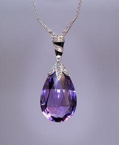 Antique Edwardian Amethyst Diamond Platinum Necklace - Antique Jewelry   Vintage Rings   Faberge Eggs