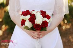 Wedding, Flowers, White, Bouquet, Red, Roses, Winter, Bethany hill photography