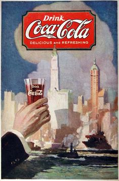 1920 Coca Cola original vintage advertisement. Beautiful Coca Cola vintage logo in classic script style. Depicts the contour shaped glass full of delicious and refresing Coca Cola. Very hard to find advertisement!