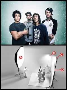 To front-light his portrait of the rock band Pierce the Veil, Adam Elmakias used an Alien Bees B1600 monolight inside a 7-foot Photoflex Octodome softbox (A). He side- and backlit the musicians with two Alien Bees B800 monolights inside 47-inch (B) and 35-inch (C) foldable Paul C. Buff octoboxes. The side light (B) eliminated shadows on the subjects' shoulders, while the backlight (C) rimlit the group, making it easier for Elmakias to extract them from the background in post.