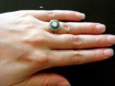 Vintage Art Deco Platinum & 18K gold Diamond Emerald Engagement Ring