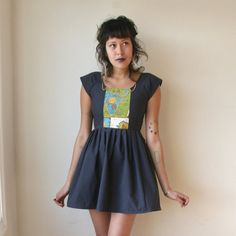 Treasure Map Mini Dress With Chain Collar Sz XS S M L Rusty Cuts. $78.00, via Etsy.