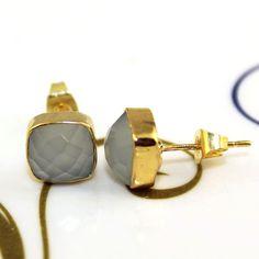 Zj7673 Best Sale! White Chalcedony Gold Plated New Fashion Stud Earring Jewelry  #Handmade #DropDangle